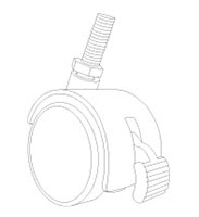Threaded Swiveling and Locking Twin Wheel Caster - 2