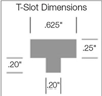 "Tapered Display Hooks With ""C"" Channel - T-Slot Dimensions"