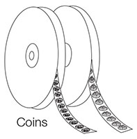 "Hook & Loop Fastener, Coins, 1/2"" Hook, White - 2"