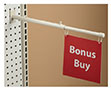Telescopic Double-Hook Aisle Sign Holder - Pegboard/Slatwall
