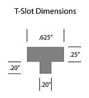 Corrugated Tapered Back Display Hooks - T-Slot Dimensions