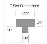Tapered Display Hooks With Scan Plate - T-Slot Dimensions